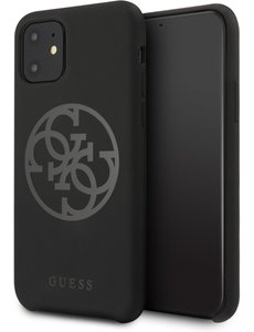 Guess Apple iPhone 11 Guess Zwart Backcover hoesje GUHCN61LS4GBK - TPU - Silicone