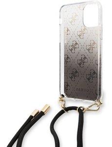 Guess Apple iPhone 11 Guess Zwart Backcover hoesje GUHCN61WO4GBK - Hard Case - Kunstleer