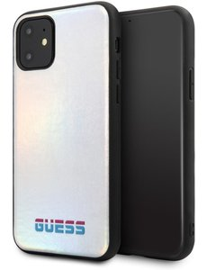 Guess Apple iPhone 11 Guess Zilver Backcover hoesje GUHCN61BLD - Hard Case - Kunstleer