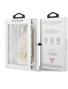 Guess iPhone 11 Backcase hoesje - Guess - Glitter Goud - Kunststof