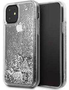 Guess iPhone 11 Backcase hoesje - Guess - Glitter Zilver - Kunststof