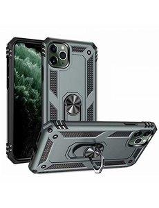 Ntech Ntech Apple iPhone 11 Pro Max Armor Hoesje Ringhouder TPU - Donker Groen