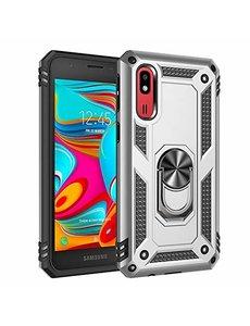 Ntech Samsung Galaxy A2 Core Armor Hoesje Ringhouder TPU - Zilver