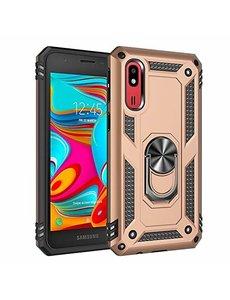 Ntech Samsung Galaxy A2 Core Armor Hoesje Ringhouder TPU - Goud