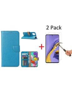 Ntech Samsung Galaxy A51 Portemonnee hoesje + 2X Screenprotector - Turquoise