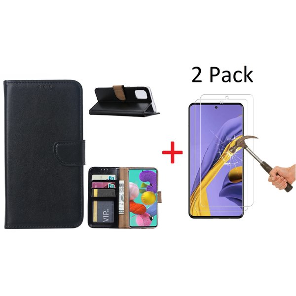 Ntech Samsung Galaxy A51 Portemonnee hoesje + 2X Screenprotector - Zwart