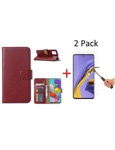 Ntech Samsung Galaxy A51 Portemonnee hoesje + 2X Screenprotector - Bordeaux