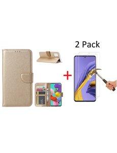 Ntech Samsung Galaxy A51 Portemonnee hoesje + 2X Screenprotector - Goud