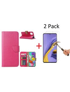 Ntech Samsung Galaxy A51 Portemonnee hoesje + 2X Screenprotector - Roze/Pink