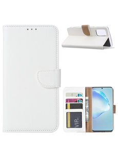 Ntech Samsung Galaxy S20 Plus Boek hoesje met Pasjeshouder - Wit