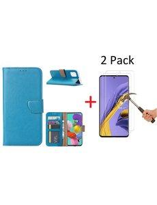 Ntech Samsung Galaxy A71 Portemonnee hoesje + 2X Screenprotector - Turquoise