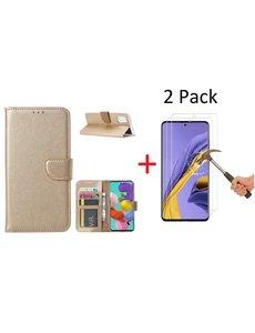 Ntech Samsung Galaxy A71 Portemonnee hoesje + 2X Screenprotector - Goud