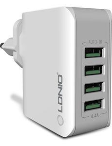 Ldnio Stekker met 4 USB poorten 5V 4.4A - Travel Adapter