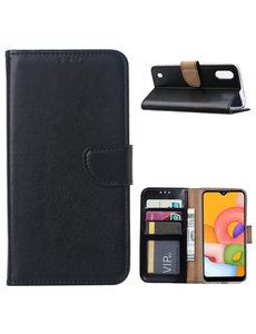 Ntech Samsung Galaxy A01 Hoesje met Pasjeshouder - Zwart