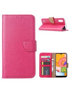 Ntech Samsung Galaxy A01 Hoesje met Pasjeshouder - Roze/Pink