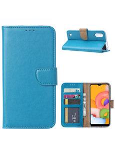 Ntech Samsung Galaxy A01 Hoesje met Pasjeshouder - Blauw
