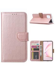 Ntech Samsung Galaxy Note 10 Lite Hoesje met Pasjeshouder - Rose goud