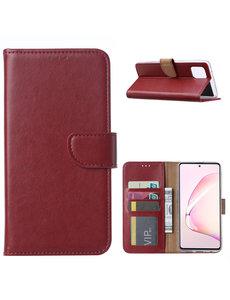 Ntech Samsung Galaxy Note 10 Lite Hoesje met Pasjeshouder - Bordeaux