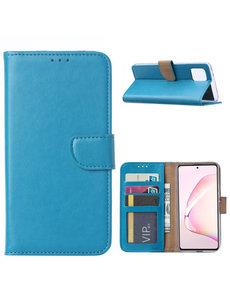 Ntech Samsung Galaxy Note 10 Lite Hoesje met Pasjeshouder - Turquoise