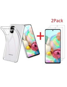 Ntech Samsung Galaxy A71 Hoesje TPU backcover Met 2 Stuks glazen Screenprotector - Transparant