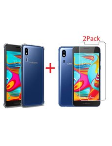Ntech Samsung Galaxy A2 Core Anti Shock Hoesje TPU backcover Met 2pack glazen Screenprotector - Transparant