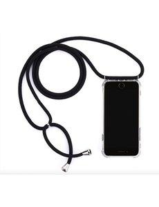 Telefoonhoesje met zwart koord - iPhone 11 hoesje - Backcover transparant - Let op: Koord Zwart