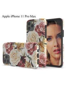 Ntech Apple iPhone 11 Pro Max Bloemen Design backcover Hoesje - Multi kleur