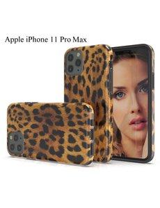 Ntech Apple iPhone 11 Pro Max Luipaard Design backcover Hoesje - Zwart & Geel