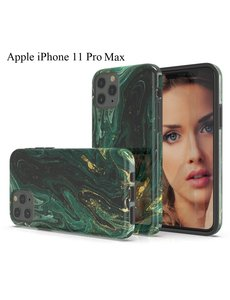 Ntech Apple iPhone 11 Pro Max Marmer Design backcover Hoesje - Groen & Goud