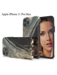 Ntech Apple iPhone 11 Pro Max Marmer Design backcover Hoesje - Zwart & Goud