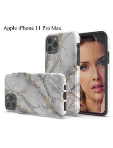 Ntech Apple iPhone 11 Pro Max Marmer Design backcover Hoesje - Grijs & Goud