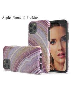 Ntech Apple iPhone 11 Pro Max Marmer Design backcover Hoesje - Roze & Goud