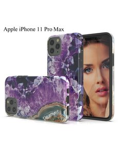 Ntech Apple iPhone 11 Pro Max Marmer Stone backcover Hoesje - Paars