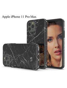 Ntech Apple iPhone 11 Pro Max Marmer Design backcover Hoesje - Zwart