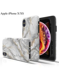 Ntech Apple iPhone X/XS Marmer Design backcover Hoesje - Grijs & Goud