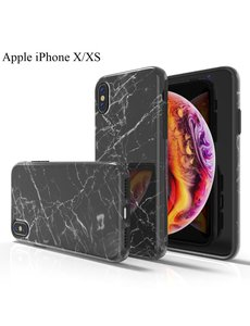Ntech Apple iPhone X/XS Marmer Design backcover Hoesje - Zwart
