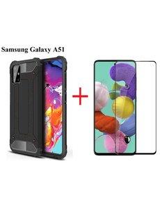 Ntech Samsung Galaxy A51 Screen Protector Zwart + Armor Hoesje Zwart