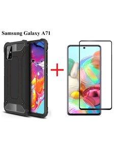 Ntech Samsung Galaxy A71 Screen Protector Zwart + Armor Hoesje Zwart