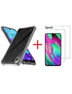 Ntech Huawei Y5 (2019) Anti Shock Hoesje TPU backcover Met 2pack glazen Screenprotector - Transparant