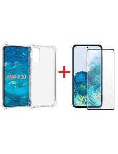 Ntech Samsung Galaxy S20 Hoesje - Clear Anti Shock Back hoesje met Screenprotector Combi - Zwart
