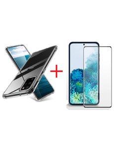 Ntech Samsung Galaxy S20 Plus Hoesje - Clear Anti Shock Back hoesje met Screenprotector Combi - Zwart