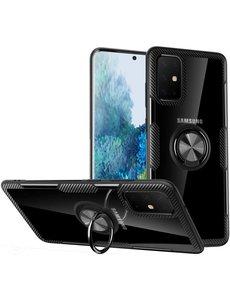 Ntech Samsung Galaxy S20 Plus Luxe Back Hoesje & Metalen Ring houder - Zwart