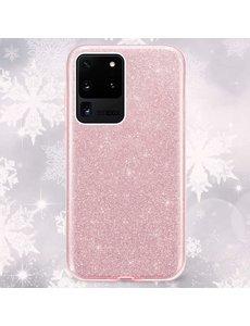 Ntech Samsung Galaxy S20 Glitter Hoes Roze