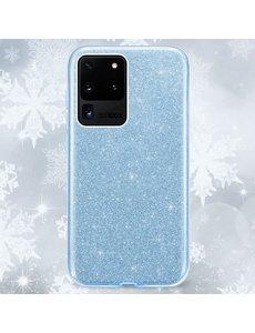 Ntech Samsung Galaxy S20 Plus Glitter Hoes Blauw