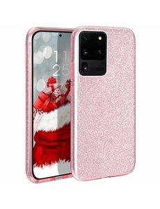 Ntech Samsung Galaxy S20 Plus Glitter Hoes Roze