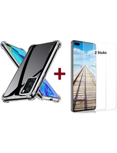 Ntech Huawei P40 Lite Anti Shock Hoesje TPU Back case Met 2 pack glazen Screenprotector - Transparant