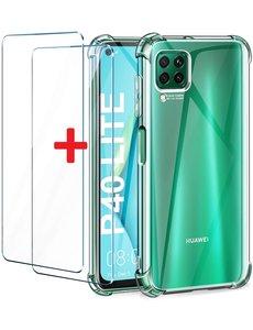 Huawei P40 Schokbestendig transparant hoeje Met 2x glazen Screenprotector