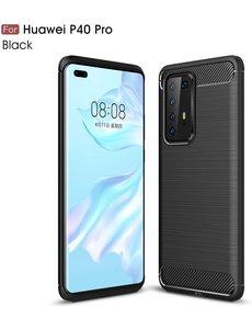 Ntech Huawei P40 Pro Geborsteld TPU Hoesje - Zwart