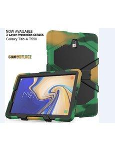 Ntech Samsung Galaxy Tab A 10.5 (2018) T590 Heavy Duty Case - Camouflage Groen