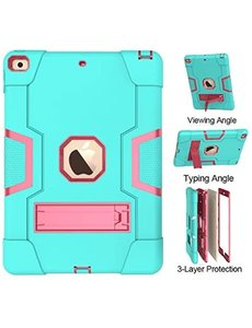 Ntech iPad 10.2 inch 2019 / 2020 hoes Kickstand Armor hoes - Mint Pink